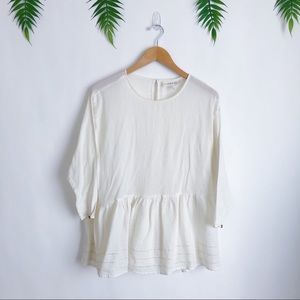 The Great. • Off White Ivory Peplum Blouse